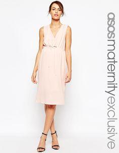 Image 1 ofASOS Maternity NURSING Midi Dress With Drawstring Waist