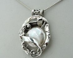 Hand Crafted Beautiful Sterling Silver Textured Pearl Pendant (s e1699s)