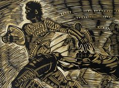 Section of 'Number Eleven – The Speedster Sefulu Tasi' Medium: Embossed Woodblock Print on Pescia Paper Dimensions (cm): h. 38 x l. 48 Limited Edition Number: of 19 Year: 2011 Image: Courtesy of the Artist Michel Tuffery M.N.Z.M, Photograph taken by Solander Gallery, Wellington Nz Art, Paper Dimensions, Woodblock Print, 9 And 10, Printmaking, New Zealand, Year 9, Stamp