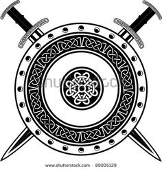 Ancient Viking Tattoos | Board Of Viking With Crossed Swords Stock Vector 89005129 ...