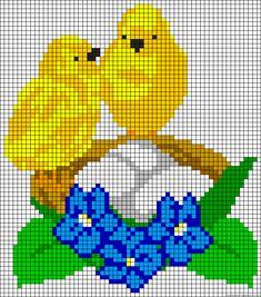Birds nest perler bead pattern Cross Stitch Cushion, Cross Stitch Art, Cross Stitch Designs, Cross Stitch Embroidery, Cross Stitch Patterns, Plastic Canvas Ornaments, Plastic Canvas Patterns, Beading Patterns, Embroidery Patterns