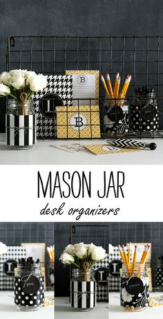 Mason jar desk organizers DIY using wrapping paper and baker's twine. Full tutorial included thanks to @paintschips. http://www.rustoleum.com/product-catalog/consumer-brands/specialty/chalkboard-brush-on/