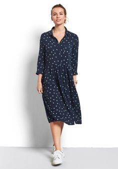 Buy Farah Midi Dress from Hush: A pretty ditsy print shirt dress you'll wear and wear; polished enough for work and relaxed enough for the weekend. Pair with our Nightsky trainers for an relaxed casual look.