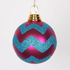 Felices Pascuas Collection Cerise Pink Matte and Turquoise Blue Glitter Chevron Shatterproof Christmas Ball Ornaments 4 inch (100mm)