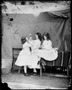 Edith Mary Liddell; Ina Liddell; Alice Liddell by Lewis Carroll (Charles Lutwidge Dodgson), July 1860 - NPG - © National Portrait Gallery, London