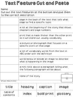 Nonfiction Text Features Chart | For the Classroom | Pinterest ...