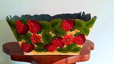 Vintage Handpainted Tole Strawberries Metal Planter Folk Art #CountryShabbyChic