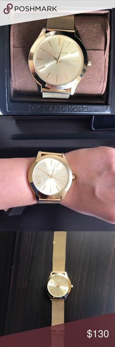 Gold Michael Kors Mesh watch, adjustable Beautiful large faced Michael Kors Gold Mesh Watch. Easy to adjust to different wrist sizes. Slight damage to the mesh on bottom half, can be repaired at any watch/jewelry store. Sleek and light weight. Michael Kors Accessories Watches