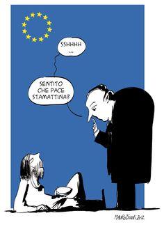#Nobel per la pace all'Unione europea - la vignetta di Mauro Biani per #ilmanifesto