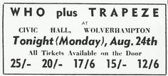 Trapeze ~ Monday, August 24th, 1970 ~ Who was the loudest of them all that night?!