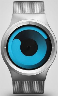 ZIIIRO displays time in a simple and unique way. The tip of the inner blue swirl represents the current hour, while the outer swirl displays the minutes