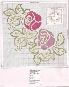 Gráficos Ponto Cruz e Artesanato: Flores - para toalhas ou caminho de mesa