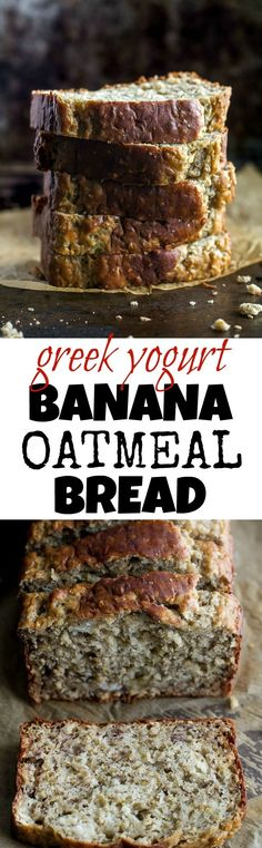 Greek Yogurt Banana Oat Bread - so soft and tender that you'd never be able to tell it's made without any butter or oil. This recipe is a great healthier alternative to a traditional favourite runningwithspoons. Banana Oat Bread, Oatmeal Bread, Banana Oats, Banana Yogurt Muffins, Sugar Free Banana Bread, Whole Wheat Banana Bread, Banana Oat Cookies, Oatmeal Yogurt, Healthy Sweets