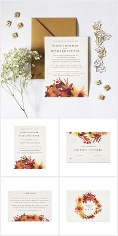 Fall/Autumn  Flowers Wedding Invitation Suite