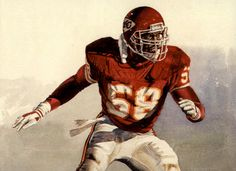 All-Pro Derrick Thomas,Outside Linebacker, Kansas City Chiefs, portrait by Merv Corning Alabama Linebacker - College Football Hall of Fame Pro Football Hall of Kansas City Chiefs Nfl Football Players, Football Art, Vintage Football, Alabama Football, Football Helmets, American Football, College Football, Nfl Hall Of Fame, Football Hall Of Fame