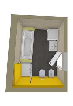 3D Badplanung für schräges Badezimmer