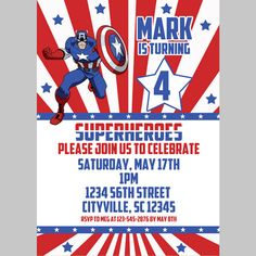 superhero captain america invitation 5x7 500 via etsy love day pinterest