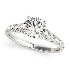 Transcendent Brilliance 14K Gold 1 1/2ct TDW Diamond Graduated Shank Engagement Ring (G-H, VS1-VS2) (White - Size 4.75), Women's, Pink
