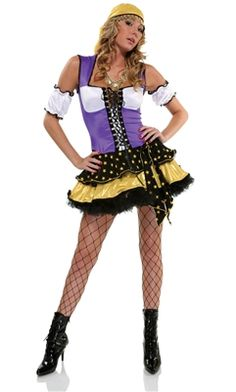 This sexy gypsy fortune teller costume will bring you good fortune with its lace up bodice, scarf, sleeves and charmed necklace. Last Minute Halloween Costumes, Pop Culture Halloween Costume, Creative Halloween Costumes, Christmas Costumes, Halloween Kostüm, Women Halloween, Sexy Costumes For Women, Costume Collection, Furla