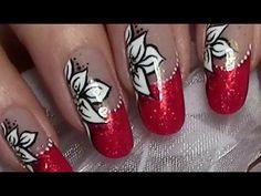Christmas Nails with Christmas Flower / Red Xmas Nail Art Design (tutori...