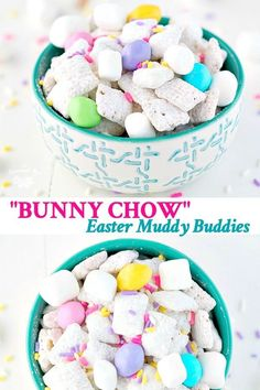 """Packed full of fluffy white marshmallow """"bunny tails"""" and pastel """"eggs,"""" this Bunny Chow Chex Mix is a spring-themed twist on the classic Muddy Buddies recipe. Plus, my version can easily be made nut-free for a perfect classroom Easter Snack for Kids! Easter Snacks, Easter Appetizers, Easter Candy, Easter Treats, Easter Recipes, Dessert Recipes, Easy Easter Desserts, Easter Food, Easter Brunch"""