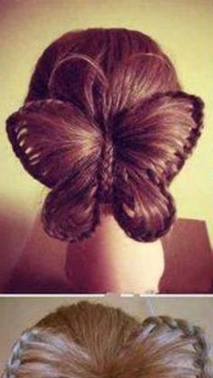 This would be great for crazy hair day at school! Learn how to create this incredibly cool butterfly hairstyle in just a few short steps. Butterfly Hairstyle, Butterfly Braid, Diy Butterfly, Butterfly Wedding, Pretty Hairstyles, Braided Hairstyles, Amazing Hairstyles, Braided Updo, Latest Hairstyles