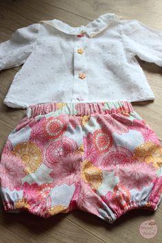 Pantaloncito de volantes y blusa plumeti para bebé (talla 3-6 meses)