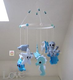 Under the Blue Sea baby crib felt mobile by MySweetfelt on Etsy Felt Penguin, Baby Deco, Diy Bebe, Felt Mobile, Birth Gift, Hanging Mobile, Diy Stuffed Animals, Baby Cribs, Etsy