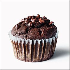 Chocolate-Chocolate chip muffins--Cooking Light: This crowd-pleasing recipe is chocolately but not too sweet -- making these muffins perfect for breakfast or any other time of day. Healthy Chocolate, Vegetarian Chocolate, Chocolate Recipes, Chocolate Chocolate, Craving Chocolate, Decadent Chocolate, Chocolate Lovers, Healthy Muffin Recipes, Healthy Muffins