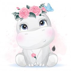 Cute baby hippo cartoon fly with love balloon Cartoon Wallpaper, Disney Drawings, Cute Drawings, Cute Images, Cute Pictures, Watercolor Flower Background, Flower Watercolor, Baby Animal Drawings, Baby Hippo