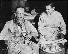 Boris Karloff (the Monster) and Colin Clive (Frankenstein) having tea on the set of Frankenstein