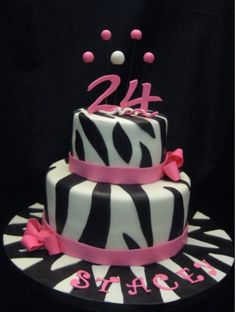 Zebra Stripe Cake (instead of pink purple ribbon and a different topper)
