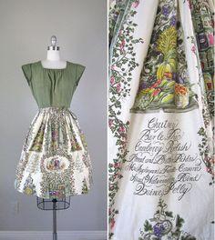 Vintage 1950s Dress // 50s Novelty Print Wrap by RevolvingStyles, $66.00