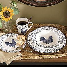 blue roosters dinnerware....cool