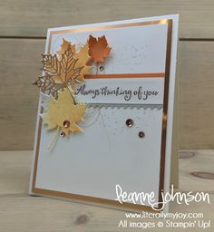 Always Thinking of You | Stampin\' Up! | Beautiful Day | Magical Mermaid #literallymyjoy #leaves #thinkingofyou #sympathy #copper #BrushoColorCrystals #2018OccasionsCatalog #20172018AnnualCatalog