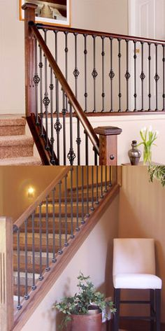 Home Depot Balusters Interior Indoor Stair Railing, Stair Railing Kits, Interior Stair Railing, Stair Decor, Stairs Canopy, Bathroom Under Stairs, Cantilever Stairs, Building Stairs, Beautiful Stairs