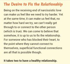 Trying to fix a relationship with a narcissist is IMPOSSIBLE. You cannot fix a relationship with just one person trying . Narcissistic Abuse Recovery, Narcissistic Personality Disorder, Narcissistic Sociopath, Narcissistic Behavior, Disorders, Narcissistic Husband, Narcissistic People, Verbal Abuse, Frases