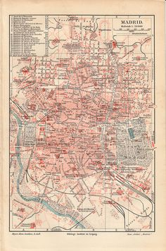 1900 Antique CITY MAP print of MADRID, Spain, antiguo mapa de Madrid. $15.95, via Etsy.