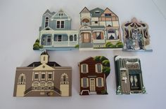 Shelia's Shelia Sheila Collectible Historic Wood Houses Lot of 6 some signed