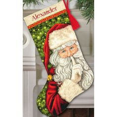 Secret Santa Stocking Counted Cross Stitch Kit16in Long 18 Count - Free Shipping On Orders Over $45 - Overstock.com - 17261812 - Mobile