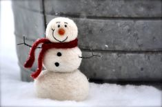 Learn to needle felt by crafting this adorable snowman.