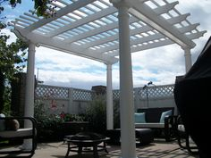 The only problem as something as beautifully maintenance free is how it makes the wood fence look in the background that is only a couple years old. Vinyl Pergola, Fence, Outdoor Structures, Couple, Wood, Beauty, Woodwind Instrument, Timber Wood, Trees