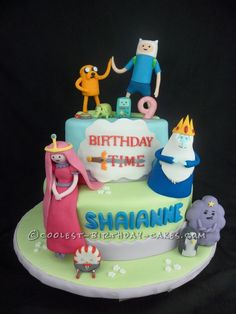 My four daughters and myself just love Adventure Time cartoon series. So, my eldest daughter requested an Adventure Time cake for her birthday. Adventure Time Birthday, Adventure Time Cakes, Adventure Time Parties, Adventure Time Cartoon, Birthday Cake Decorating, Cool Birthday Cakes, 9th Birthday, Birthday Ideas, Novelty Cakes