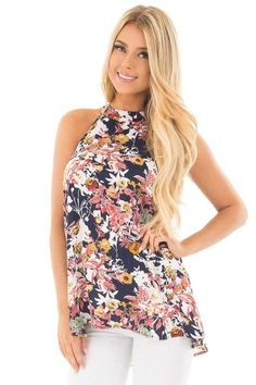 Navy Floral Tank Top with Keyhole Back