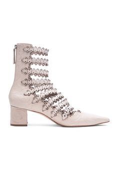 Leather Lace Strap Ankle Boots