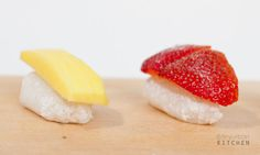 "Fun with sweet mochi and fruit ""sushi"" 