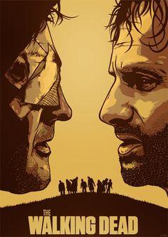 assorted-goodness:  Rick and The Governor- byElvis Zaldaris Artist:DeviantART  Behance  Facebook  Twitter