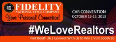 #CARConvention13 | Colorado Association of REALTORS® Convention & Expo | October 13-15, 2013 at Sheraton Denver Downtown | Fidelity National Title Company (Colorado) is excited to be apart of this amazing event | Booth#36 - Home of #WeLoveRealtors and our amazing Colorado real estate community