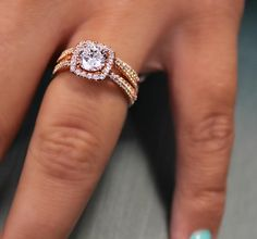 Gabriel & Co.-Voted #1 Most Preferred Fine Jewelry and Bridal Brand. 14k Rose Gold Round Halo Engagement Ring