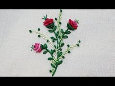 bullion knot flower with lazy daisy stitch hand embroidery - YouTube